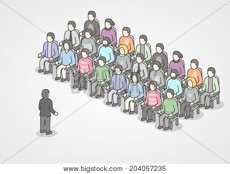 People sitting in chairs on audience. Speaker doing presentation and professional training about marketing, sales or e-commerce. Presentation or motivation conference. Vector illustration