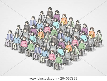 People sitting in chairs on audience. Vector illustration