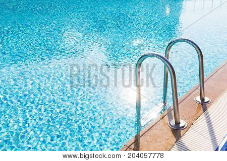 Blue Swimming Pool With Stair
