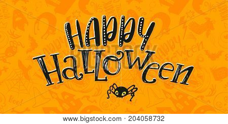 Happy Halloween   pattern and lettering text logo with cartoon siluet spider. Vector. Greeting card, invitation, poster. Black and yellow colors. Grave, ghost, pumpkin, cat, bat, castle