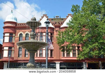 WASHINGTON, GA - August 23, 2017 The Fitzpatrick Hotel, built in 1898, boasts Queen Anne architecture, and it was placed on the National Register of Historic Places in 1982.