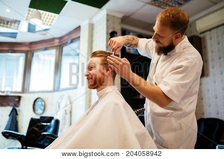 Hair beard and mustache treatment in barber shop