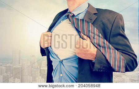 Business man businessman shirt tears himself white