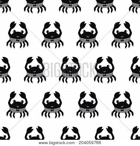 Black and white cartoon crab seamless pattern. Marine life funny character vector illustration. Design for textile, wallpaper, fabric, decor.