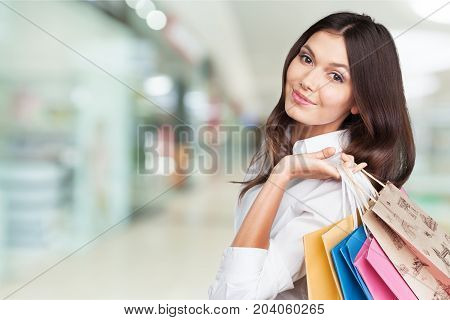 Shopping shop young woman bags young adult color