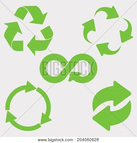 Green recycle icon set. Eco cycle arrows - vector