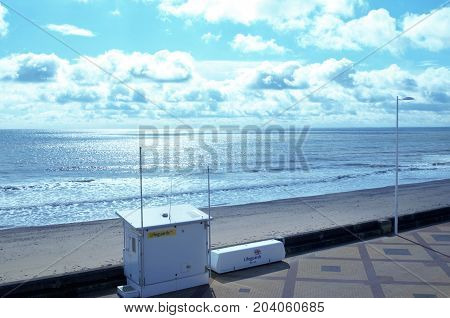 Bridlington, England - September 11,2017: out of season Lifeguard station with blue sea & blue sky