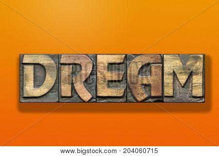 Dream Word Wooden Orange