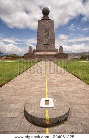 March 2 2017 Quito Ecuador: the monument marking the zero latitude in the Mitad del Mundo