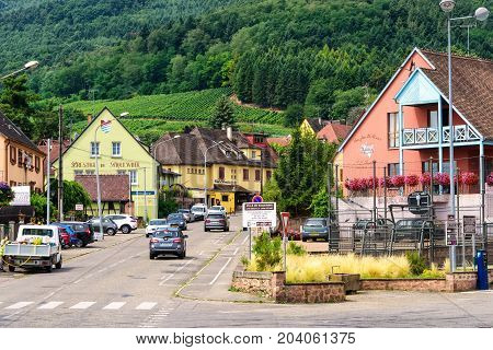 Riquewihr France - July 19 2017: Medieval village in the heart of the Alsatian vineyard region once noted the most Beautiful Village in France.