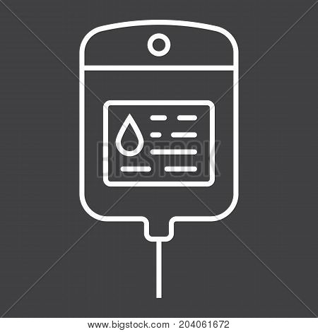 Iv bag line icon, medicine and healthcare, drop counter sign vector graphics, a linear pattern on a black background, eps 10.