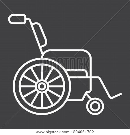 Wheelchair line icon, medicine and healthcare, disabled sign vector graphics, a linear pattern on a black background, eps 10.