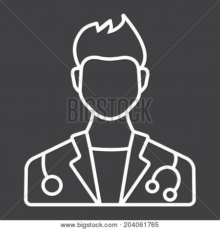 Doctor line icon, medicine and healthcare, person sign vector graphics, a linear pattern on a black background, eps 10.