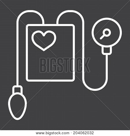 Tonometer line icon, medicine and healthcare, Blood Pressure sign vector graphics, a linear pattern on a black background, eps 10.