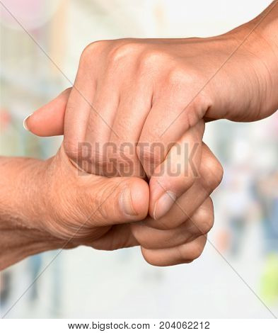 Holding man hands woman color background beautiful