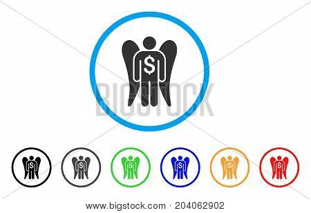 Angel Investor icon. Vector illustration style is a flat iconic angel investor gray rounded symbol inside light blue circle with black, gray, green, blue, red, orange color variants.