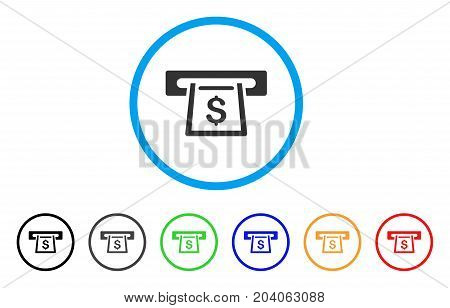 Cashout Slot icon. Vector illustration style is a flat iconic cashout slot gray rounded symbol inside light blue circle with black, gray, green, blue, red, orange color variants.