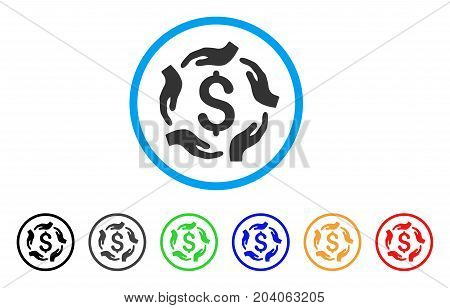 Dollar Care Hands icon. Vector illustration style is a flat iconic dollar care hands grey rounded symbol inside light blue circle with black, gray, green, blue, red, orange color versions.