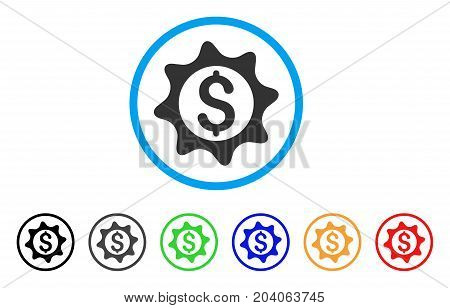 Money Seal icon. Vector illustration style is a flat iconic money seal gray rounded symbol inside light blue circle with black, gray, green, blue, red, orange color variants.