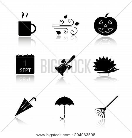 Autumn season drop shadow black glyph icons set. Hot drink mug, pumpkin, wind blowing, school bell, hedgehog, umbrella, maple leaf. Isolated vector illustrations
