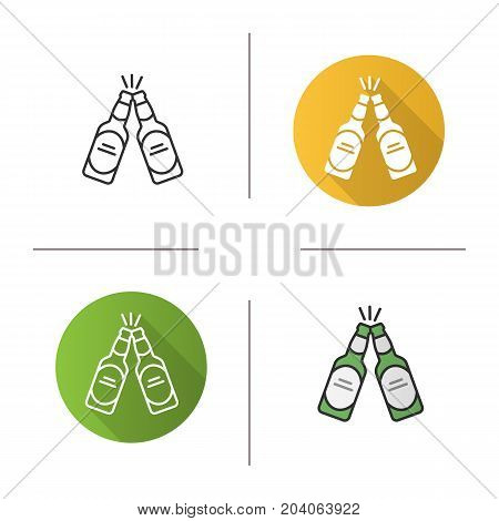 Toasting beer bottles icon. Flat design, linear and color styles. Two beer bottles. Pub and bar sign. Cheers symbol. Isolated vector illustrations