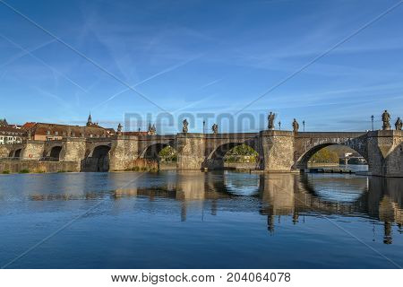 Alte Mainbrucke (old bridge) was erected from 1473 to 1543 Wurzburg Germany.