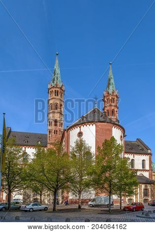 Wurzburg Cathedral is a Roman Catholic cathedral in Wurzburg in Bavaria Germany dedicated to Saint Kilian. View from apse