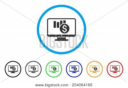Sales Chart Monitoring icon. Vector illustration style is a flat iconic sales chart monitoring gray rounded symbol inside light blue circle with black, gray, green, blue, red, orange color variants.
