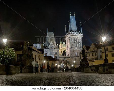 Charles Bridge By Night In Prague