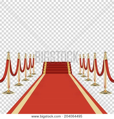 Red carpet with stairs, podium, red ropes, golden stanchions. Exclusive event, movie premiere, gala, ceremony, award concept. Blank template illustration with space for an object, person, logo or text