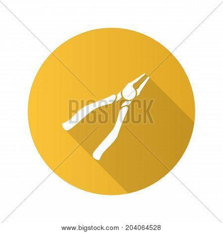 Nippers, pincers, tongs, pliers flat design long shadow glyph icon. Construction tool. Gripping tongs. Renovation and repair instrument. Vector silhouette illustration