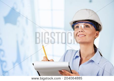 White woman work helemet industrial background industrial design industrial engineering
