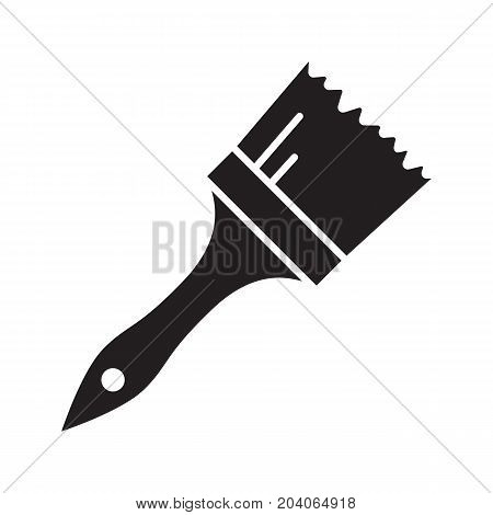 Paint brush glyph icon. Silhouette symbol. Negative space. Vector isolated illustration