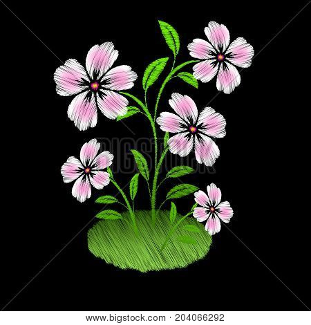 Embroidered pink flowers on black background. Raster copy
