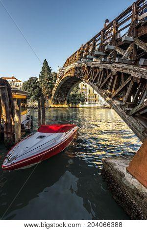 Ponte dell Accademia - Accademia Bridge in Venice Italy.