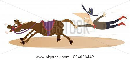 Cartoon rodeo illustration. Man or cowboy catches a running horse by horsetail