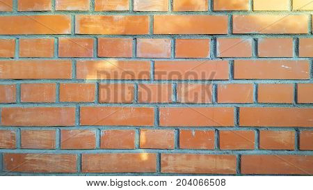 Beautiful flat wall of red brick, texture or background