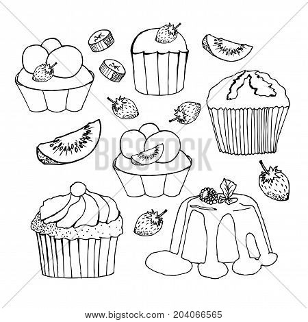 Cakes, cupcakes and pastry desserts. Vector muffin, creamy pie or tarts with strawberry and kiwi on whipped cream topping, waffle biscuit and cookies for bakery shop, cafe or patisserie