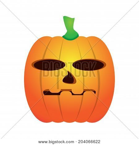 Isolated jack-o-lantern on a white background, Vector illustration