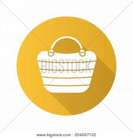 Beach bag flat design long shadow glyph icon. Beach tote. Vector silhouette illustration