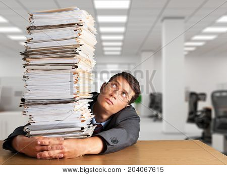 Man stack folders white background paper business