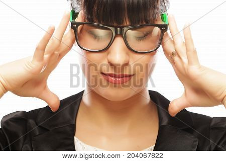 stressed businesswoman having headache and touching head isolated on white background