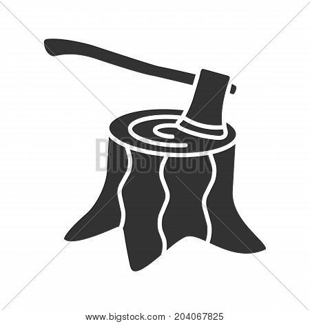 Deforestation glyph icon. Silhouette symbol. Stump with axe inside. Negative space. Vector isolated illustration