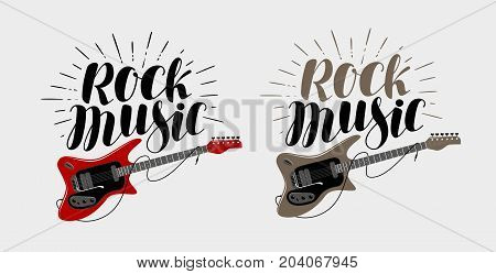 Rock music lettering. Guitar, musical string instrument symbol. Vector