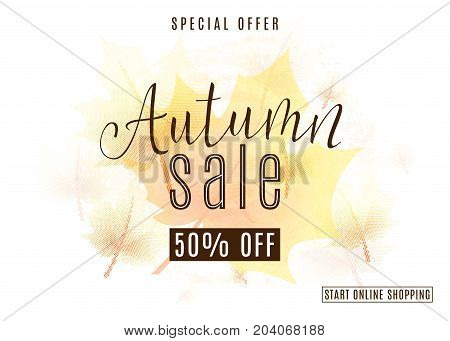 Vector illustration of vintage autumn season sale background with orange maple tree leaves, dot texture. Discount poster design with lettering text sign for fall advertising offer