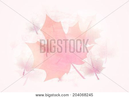 Vector illustration of autumn background vintage with fall red maple tree leaves, dot texture, light and transparent effect
