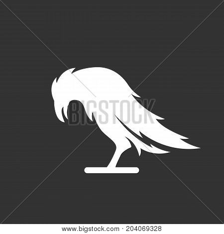Crow icon isolated on black background. Crow vector logo. Flat design style. Modern vector pictogram for web graphics - stock vector