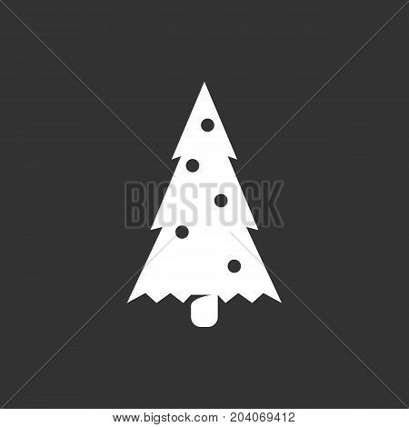 Fir-tree icon isolated on black background. Fir-tree vector logo. Flat design style. Modern vector pictogram for web graphics - stock vector
