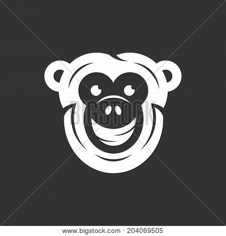 Monkey icon isolated on black background. Monkey vector logo. Flat design style. Modern vector pictogram for web graphics - stock vector