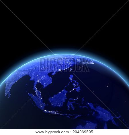 Southeast Asia 3d rendering. Maps from NASA imagery